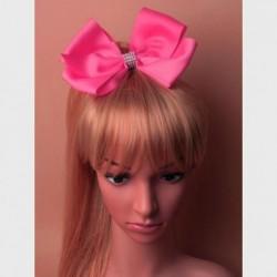 Jojo Ribbon Hair bow - Hot Pink Clear diamante concorde Hair Clip