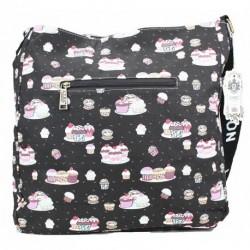 Messenger Bag - LYDC Designer Black Cupcakes Ladies...