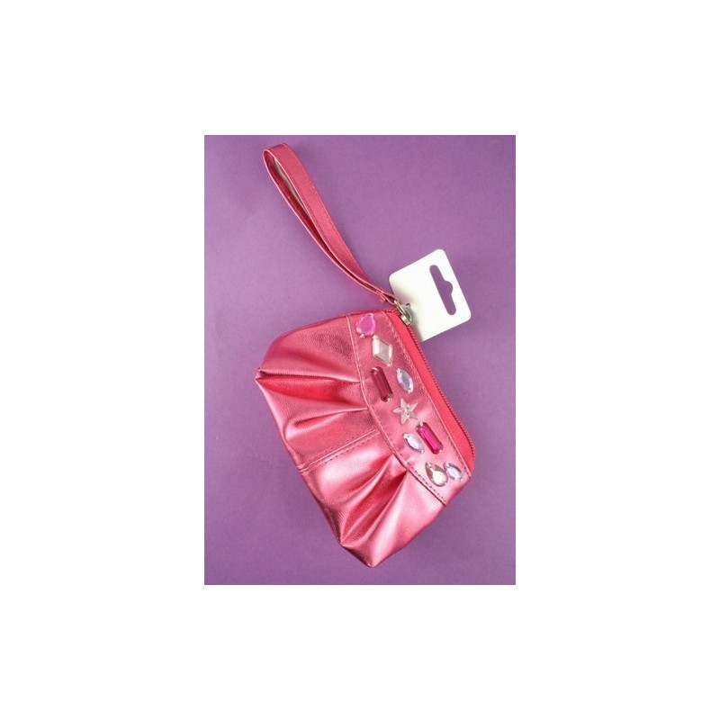 shiny metallic coloured stone detailed purse. in pink,silver and purple.