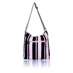 Gessy Black & Nude Canvas Striped Tote Shoulder Changing Daily Student bag