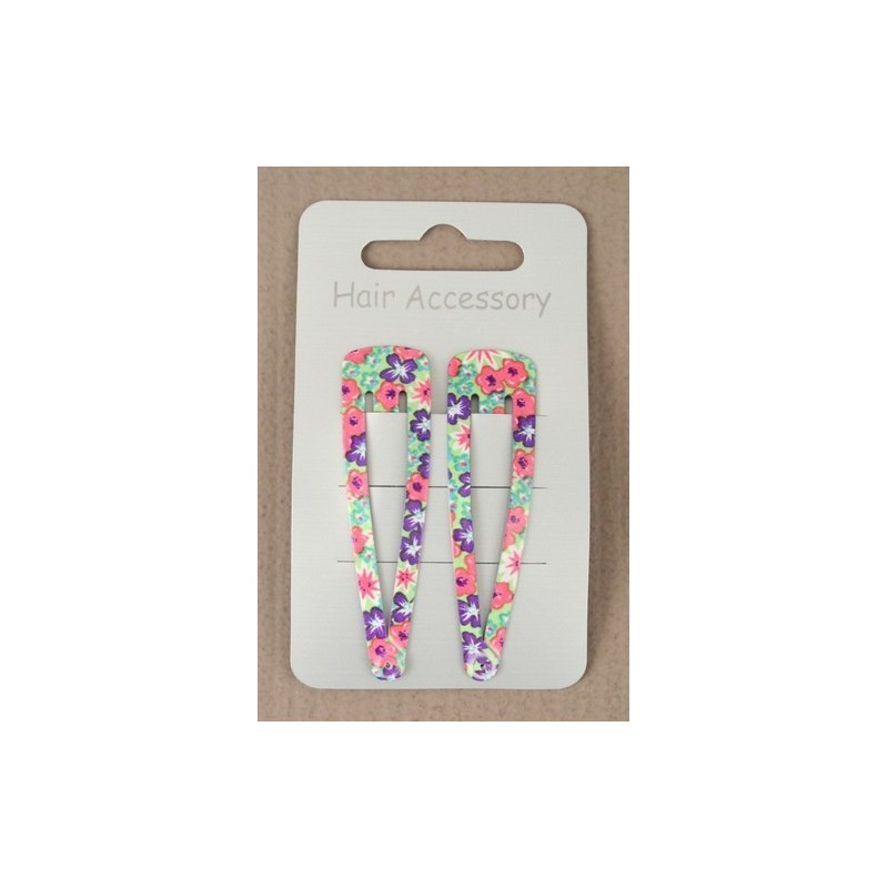 card of 2 coloured floral print sleepies. approx size 6cm.