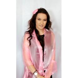 Scarf - Light Metallic Baby Pink Large Organza ball wrap Shawl Stole Evening Scarf Proms