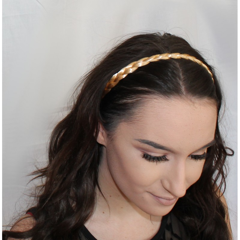Blond colour platted imitation hair elastic head wrap.