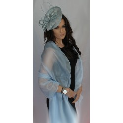 Scarf & Rose Clip - Light Pastel Blue Large Organza ball wrap Shawl Stole Evening Scarf Diner Dance