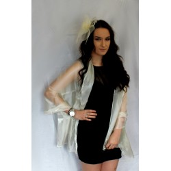 Evening Scarf - Cream/Champagne Gold colour satin look...