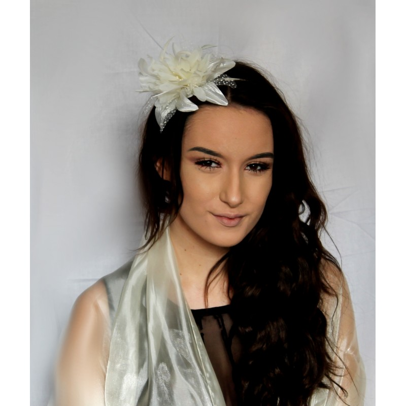 Fascinator Comb - Cream Lily-esque Flower and Feather Fascinator on a clear comb.
