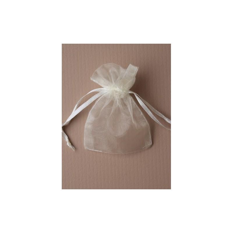 Organza gift bag - ivory 7.5 X 10cm