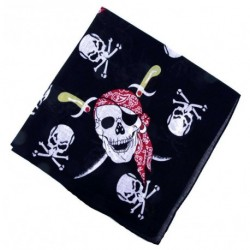 Bandana - Pirate Skull Chain Crossing Sword Bandanna Black Red Punk Rock dress up Headwear