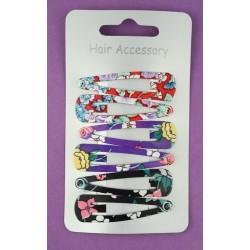 Sleepies Hair Clips - 6 x 5cm Colourful flower print click clack hair grip slides