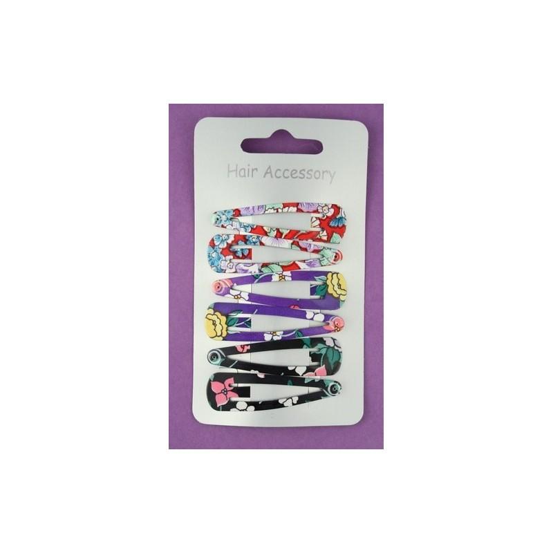 sleepies pinzas para el cabello - 6 x 5 cm de impresión colorida flor click clack agarre peinetas