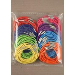 100 piece bright coloured thin elastics.