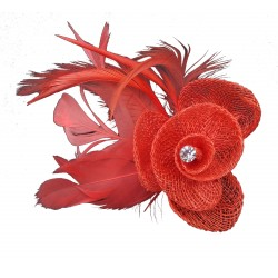 Coloured hessian net rosebud fascinator with feathers on a forked clip and brooch pin. In an assortment ...
