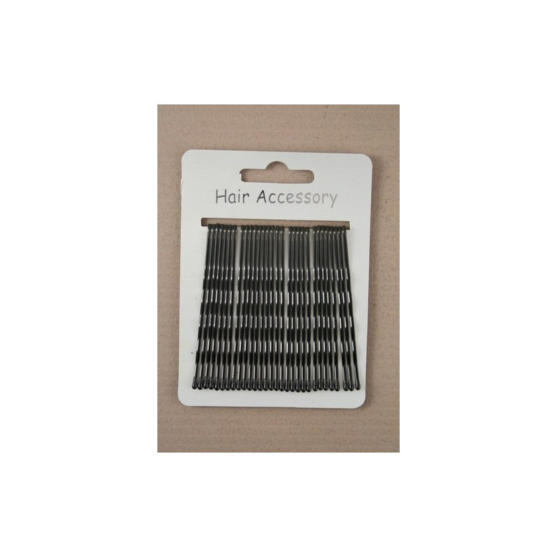 Kirby Hair Grips - 30 black 65mm waved hairpin hair grip slides