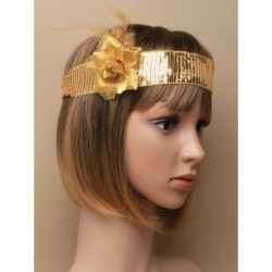 Stretch Headband - Gold sequin brow band on black elastic...