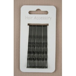 Kirby Hair Grips - 15 black 65mm waved hairpin hair grip slides