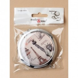 Mirror Compact - Silv retro cities compact with double...