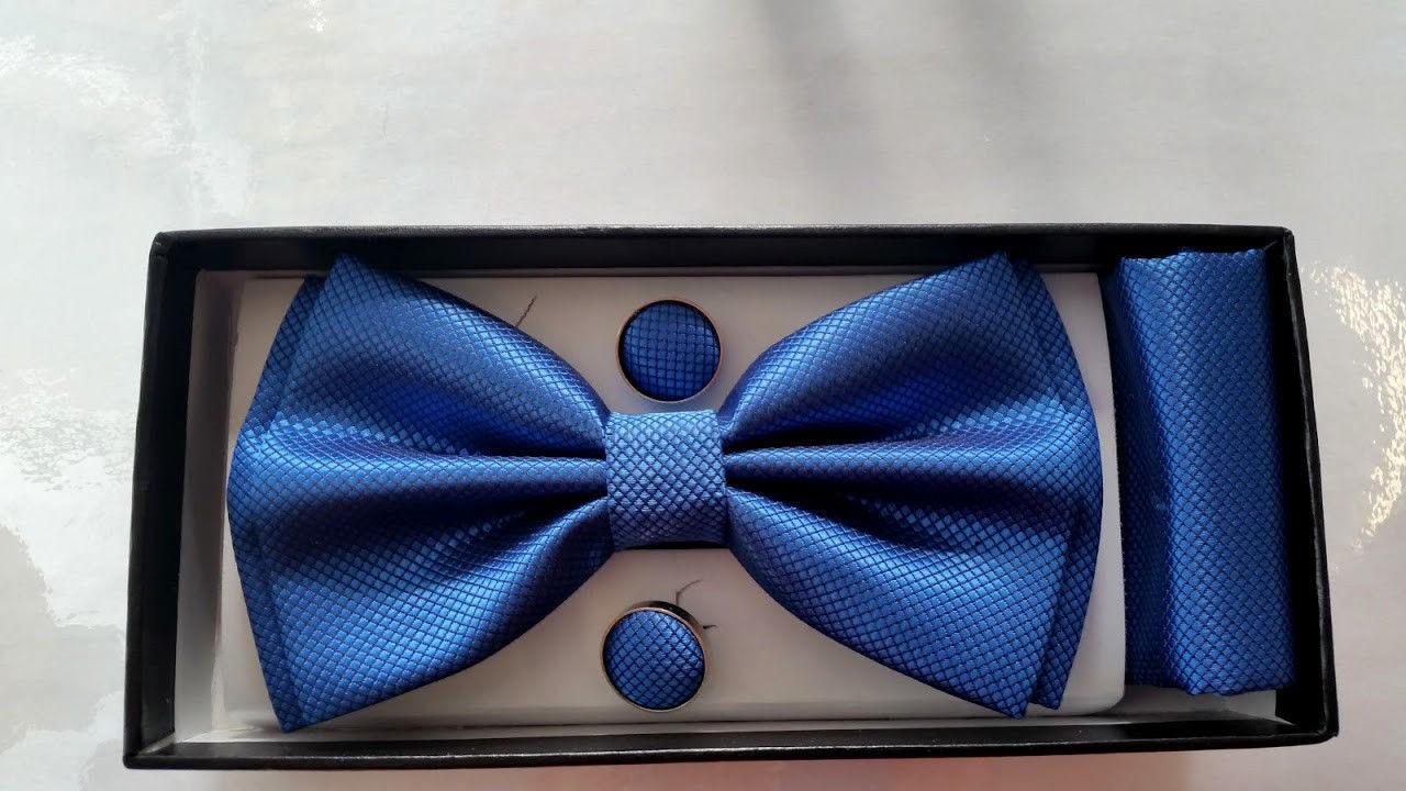 BOW Tie Cufflinks Pocket Square HANDKERCHIEF Men Boy Boxed Set Prom Best man