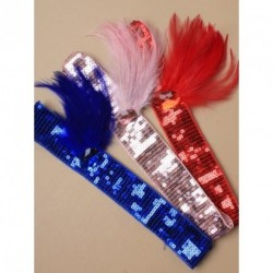 Stretch Headband - Charleston 1920's Style Sequin stretch brow band with oval stone and feathers In Pink, Blue or Red head band