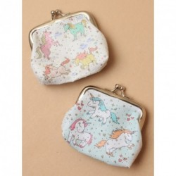 Coin Purse - Unicorn printed fabric coin purse with ball snap clasp choice of 2 colours coin purse