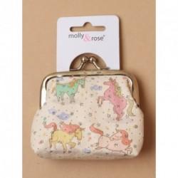 Coin Purse - Unicorn printed fabric coin purse with ball...