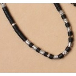 Chain - 16in Boys/mens Black and silv beaded chain choice...