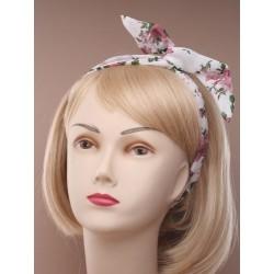 Bendy wire headband - Floral print chiffon fabric wired...