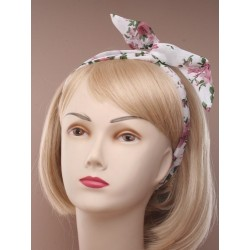 Bendy wire headband - Floral print chiffon fabric wired head band