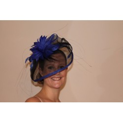 2 tone fascinator headband Sinamay cap feathers flower Black Royal Blue Headband