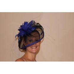 Hatinator Headband Hair Band - 2 tone fascinator headband Sinamay cap feathers flower in a choice of 3 colourways