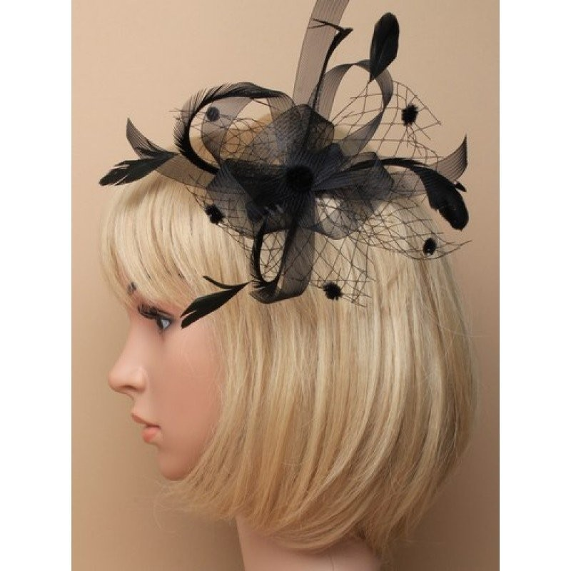 Black Looped Ribbon and Net with Feathers Fascinator on a clear comb.