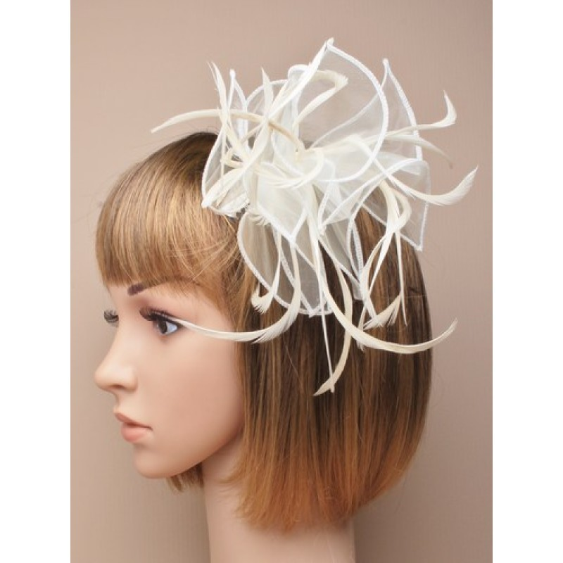 Fascinator Comb - Large Cream looped fabric and Feather Fascinator on a clear comb.