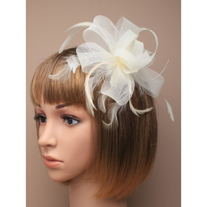 Looped Cream Net Ribbon and Feather Fascinator on a Clear Comb.