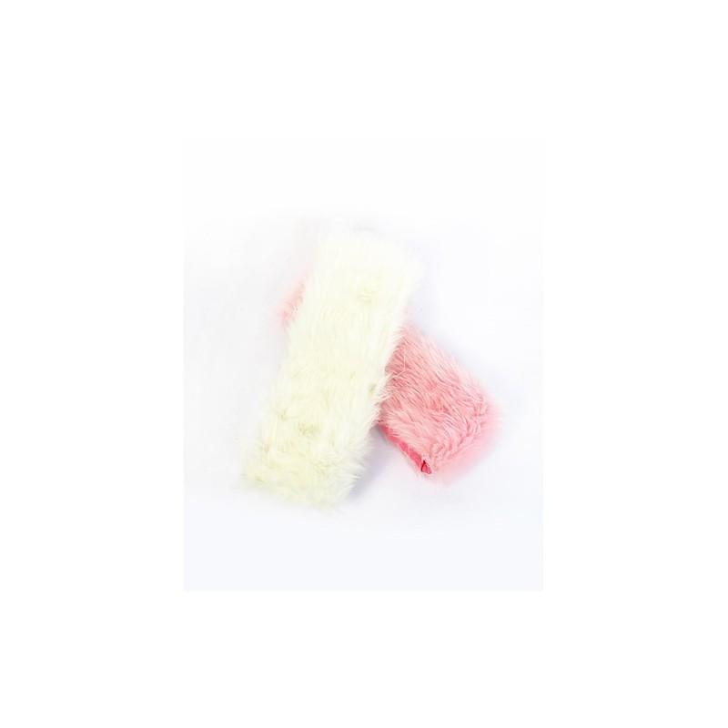 banda di testa birichino - ladies caldo banda testa rosa o crema di eco-pelliccia