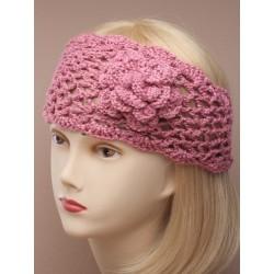 Crochet Headband - Tapered with knitted flower crochet...