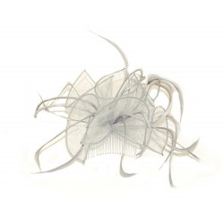 Fascinator Comb - Silver grey looped fabric and Feather...