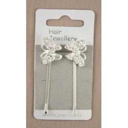 Pair of silv diamante butterfly grips 6cm long