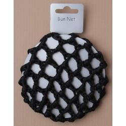 Hair Bun Net - Black shiny ribbon bun net