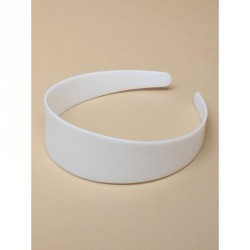 Plastic Headband Core - 4cm wide smooth graduated D section profile plain white plastic alice band core.