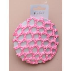 Hair Bun Net - Pink shiny ribbon bun net