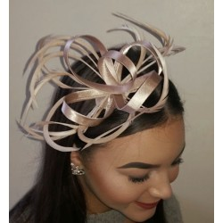Fascinator Cap Aliceband - Champagne satin based hatinator with feathers on a narrow ribbon wrapped aliceband.