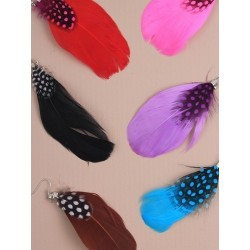 Earrings - Pair of Large bright coloured feather dropper...