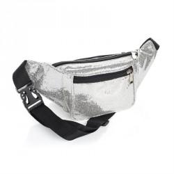 Silver colour glitter effect bum bag. - (BG31848)