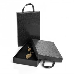 Large size black colour paisley design gift box with ribbon hanger. - (ST31847)