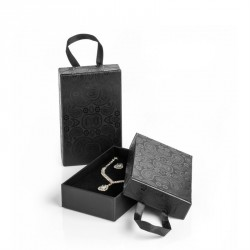 Small size black colour paisley design gift box with ribbon hanger. - (ST31845)