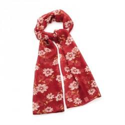 Scarf - Burgundy tone flower print scarf. - (SC31828)