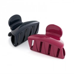 Two piece burgundy and navy colour hair claw clip set. - (HA31772)