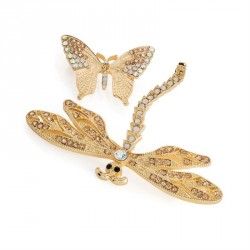 Brooch set - Two piece gold, pink, AB and white opal colour dragonfly and butterfly brooch set. - (BR31733)