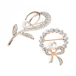 Brooch set - Two piece rose gold and white pearl colour crystal brooch set. - (BR31732)