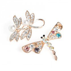 Two piece rose gold and cream pearl colour crystal and multi crystal dragonfly brooch set. - (BR31731)
