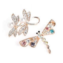 Brooch set - Two piece rose gold and cream pearl colour crystal and multi crystal dragonfly brooch set. - (BR31731)